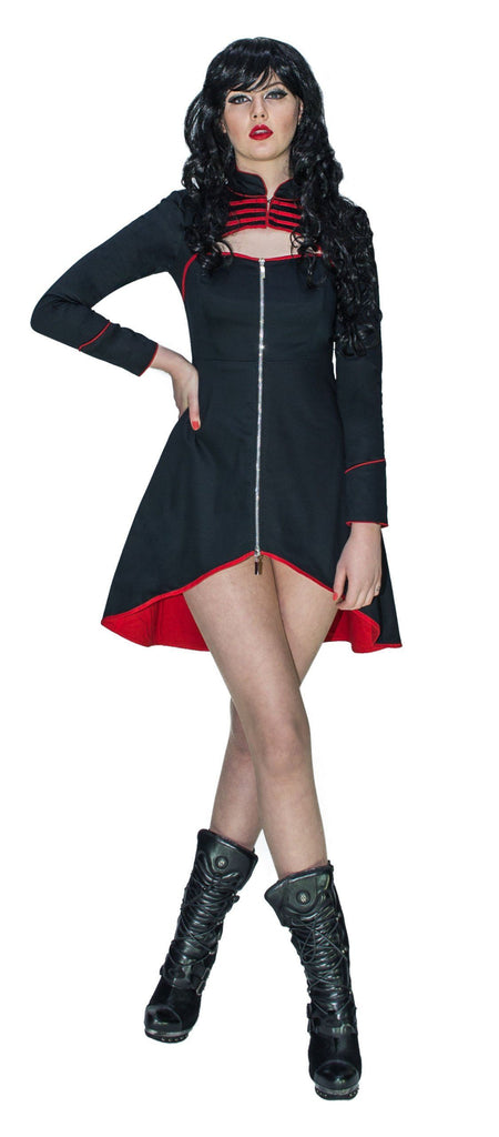 Avant-garde Military High Low Black Mini Dress - Liberty - Dr Faust