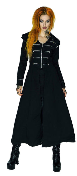 Long Hooded Designer Black Cotton Coat - Azalea - Dr Faust