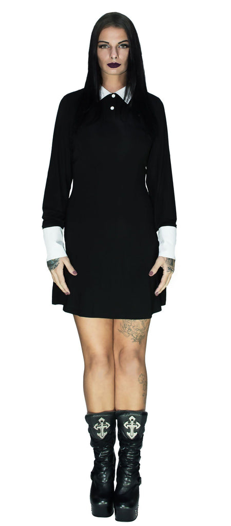 Long Sleeve Wednesday Addams Black Dress - Megan - Dr Faust