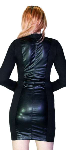 Long Sleeve Zipped Bodycon Black Mini Dress - Kaydence - Dr Faust