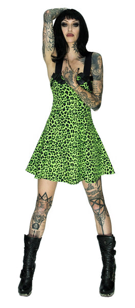 Magical Green Leopard Mini Dress - Sadie - Dr Faust