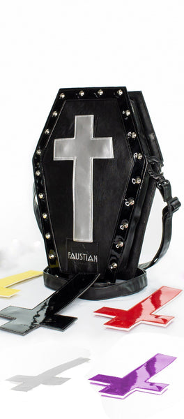 Interchangeable Crosses Vegan Leather Coffin Bag - Katana - Dr Faust