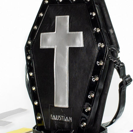 Magnetic Interchangeable Crosses Vegan Leather Coffin Bag - Katana - Dr Faust
