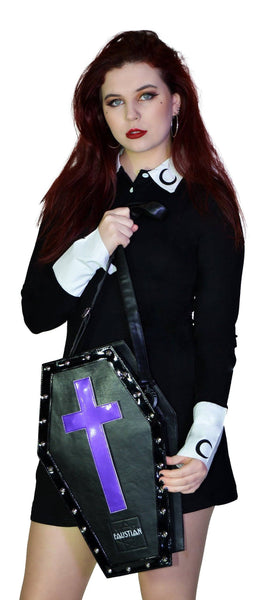 Magnetic Crosses Large Vegan Leather Coffin Bag - Katana - Dr Faust