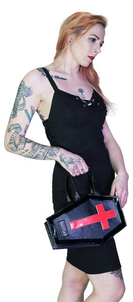 Interchangeable Magnetic Crosses Vegan Leather Coffin Bag - Katana - Dr Faust
