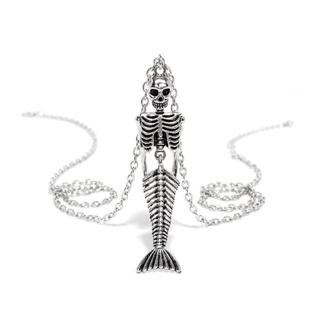 Mermaid Skeleton Silver Pendant and Necklace - Dayana - Dr Faust