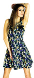 Mermaids Print Black Halterneck Mini Dress - Riley - Dr Faust