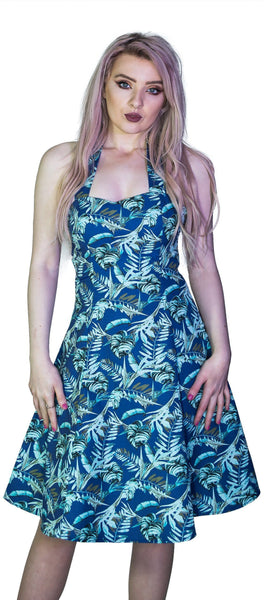 Metallic Blue Leaves Rockabilly Midi Dress - Bessie - Dr Faust