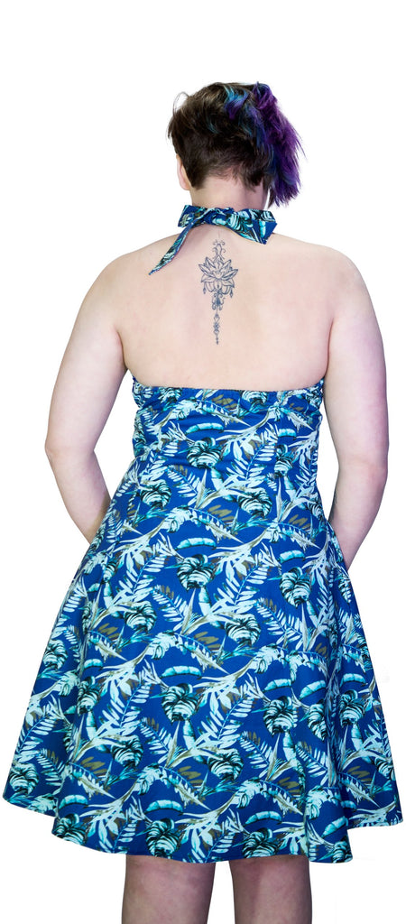 Metallic Blue Leaves Plus Size Rockabilly Midi Dress - Bessie - Dr Faust