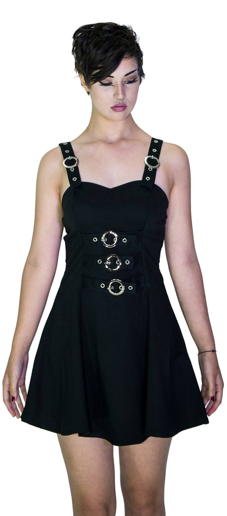 Metallic Buckle Black Mini Dress - Elvina - Dr Faust