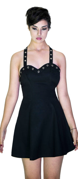 Metallic Eyelets Black Halterneck Mini Dress - Maisie - Dr Faust