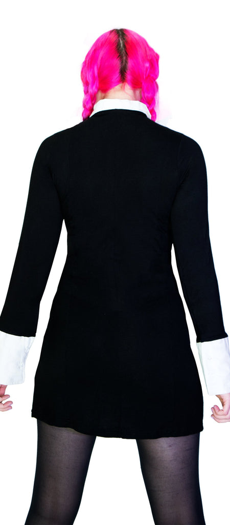 Moons on White Collar Black Mini Dress - Milani - Dr Faust