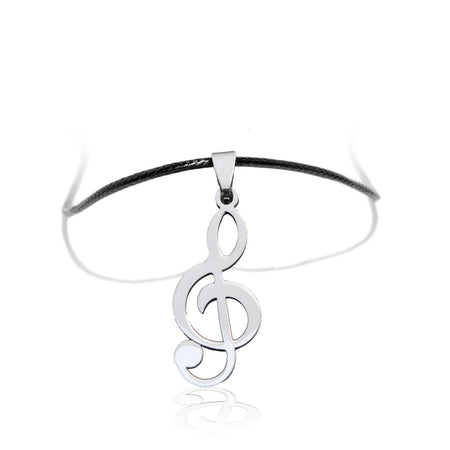 Musical Note Sol Key Pendant and Black Necklace - Sawyer - Dr Faust