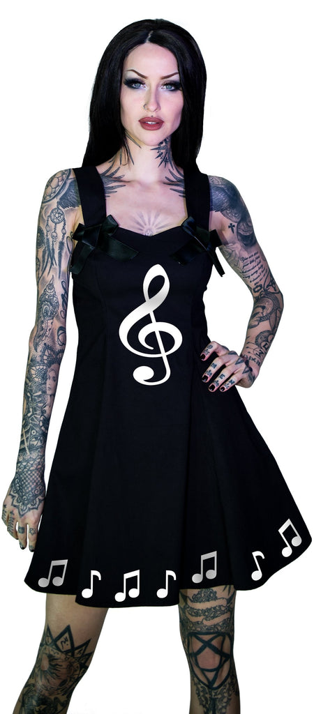 Musical Note Sol Key Little Black Mini Dress - Heidi - Dr Faust