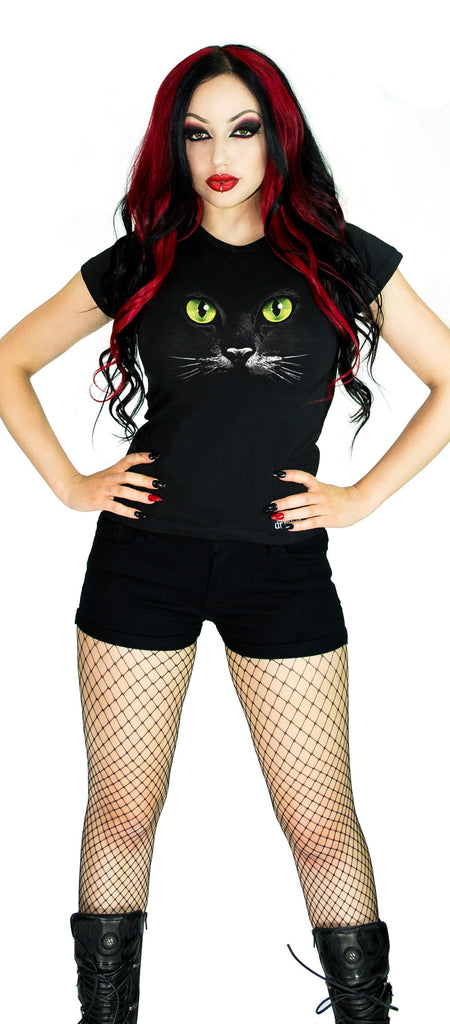 Mysterious Cat Green Eyes Black T-Shirt - Kaia - Dr Faust
