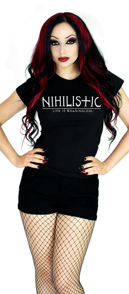 Nihilistic Life Is Meaningless Black T-Shirt - Frederica - Dr Faust