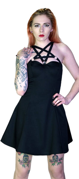 O-Ring Pentagram Strap Black Mini Dress - Rita - Dr Faust