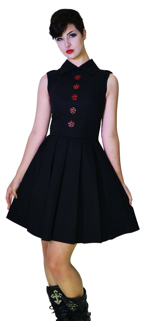 Occult Red Metal Wiccan Star Buttons Black Midi Dress - Martha - Dr Faust