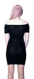 Off Shoulder Bodycon Nu Goth Black Mini Dress - Lottie - Dr Faust