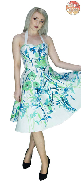 Turquoise Flowers White Midi Dress - Ophelia - Dr Faust