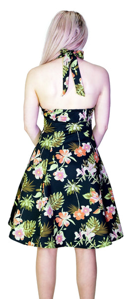 Palm Trees and Exotic Flowers Black Retro Midi Dress - Marrama - Dr Faust