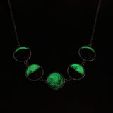 Phasing Moon Lunar Fluorescent Pendant and Necklace - Rowan - Dr Faust