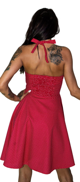 Polka Dot Red Midi Dress - Rebecca