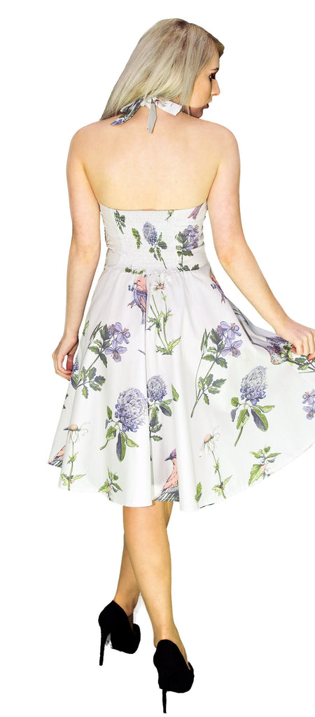 Purple Flowers and Exotic Birds White Midi Dress - Rhea - Dr Faust