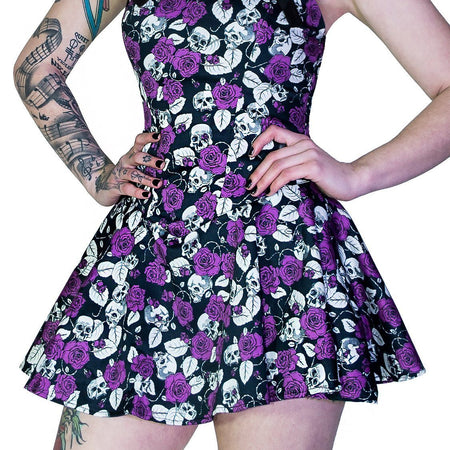 Purple Roses and Skulls Mini Dress - Rebellion - Dr Faust