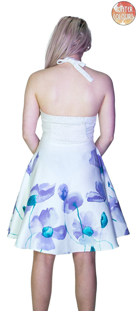 Purple and Blue Flowers White Mini Dress - Paloma - Dr Faust