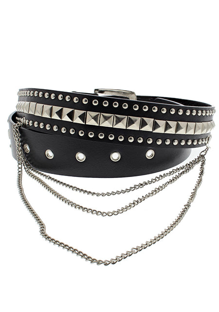 Pyramids & Conical Studs Black Vegan Leather Belt - Corbin - Dr Faust