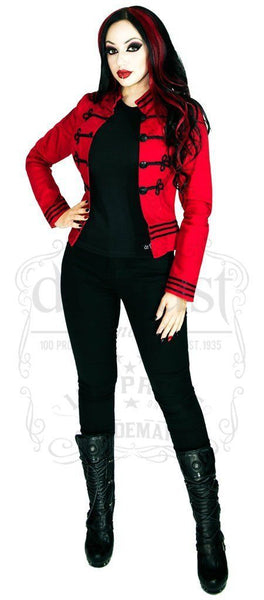 Black Military Swirl Braid Red Short Cotton Jacket - Fiorenza - Dr Faust