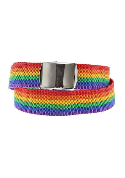 Rainbow Stripe Canvas Webbing Belt - Eduardo - Dr Faust