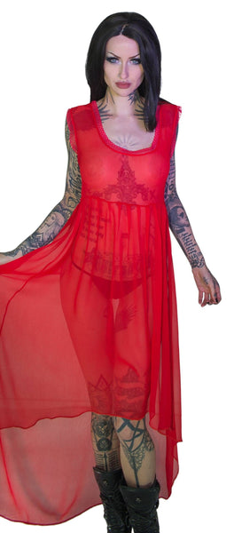 Ravishing Red Long Sheer Dress - Lacey - Dr Faust
