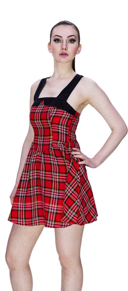 Rebel Red Tartan Mini Dress - Harmony - Dr Faust