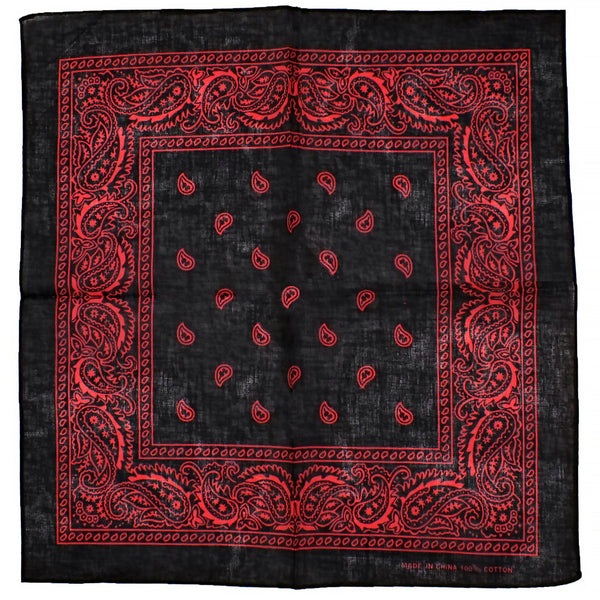 Red Design Black Cotton Bandana - Everard - Dr Faust