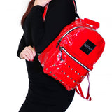 Red Patent Vegan Leather Backpack - Shining - Dr Faust