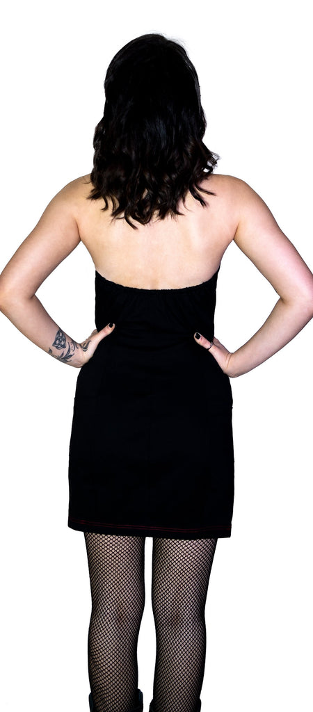 Red Button-Down Strapless Black Mini Dress - Allie - Dr Faust