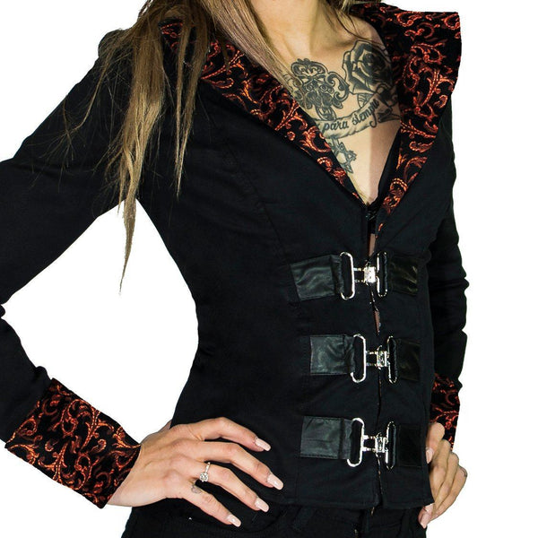 Red Brocade Details Short Black Cotton Jacket - Acantha - Dr Faust