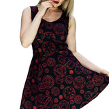 Red Mystical Spell Black Mini Dress - Francesca - Dr Faust