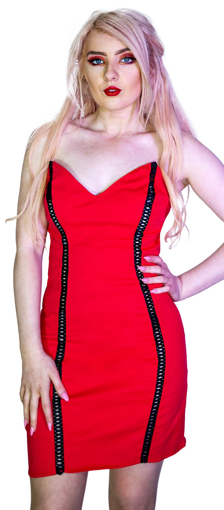 Red Party Lace-Up Mini Dress - Jana
