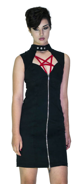 Red Pentagram Black Mini Dress - Francie - Dr Faust
