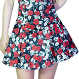 Red Roses and Skulls Mini Dress - Kora - Dr Faust