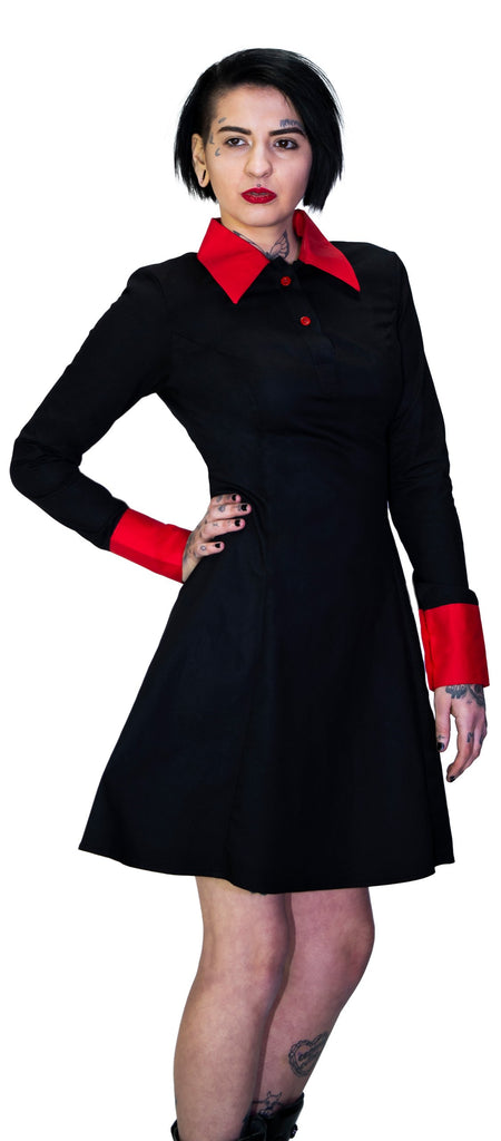 Red Cuff Wednesday Addams Black Mini Dress - Megan - Dr Faust