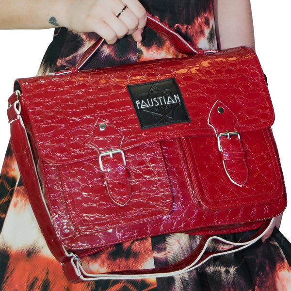 Red Vegan Leather Cross Body Satchel Bag - Harlow - Dr Faust