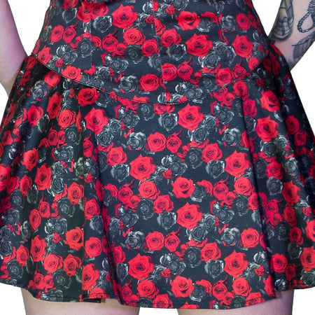 Red and Grey Roses Mini Dress - Edith - Dr Faust
