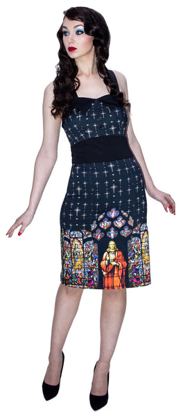 Religion Pencil Jesus Black Midi Dress - Jade - Dr Faust