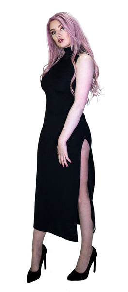 Ribbed Side Split Black Maxi Dress - Mavis - Dr Faust