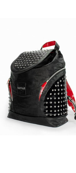 Silver Round Studs Black Vegan Leather Backpack - Fenella - Dr Faust