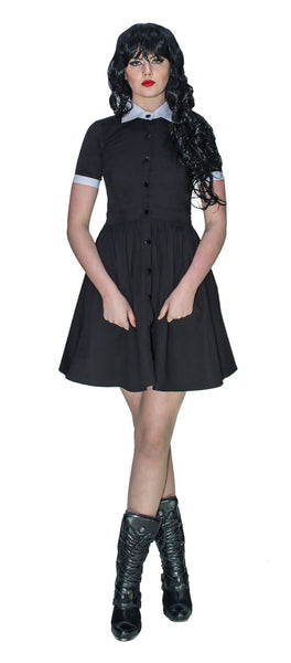 Short Sleeve Wednesday Addams Black Mini Dress - Samara - Dr Faust